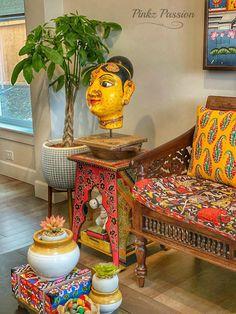 Pinkz Passion : Whimsically Ethnic (Home Tour of Poornima Murthy) Part Guest Room Decor, Room Ideas Bedroom, Living Room Decor, Ethnic Home Decor, Indian Home Decor, Home Decor Furniture, Home Decor Items, Room Interior Design, Interior Decorating
