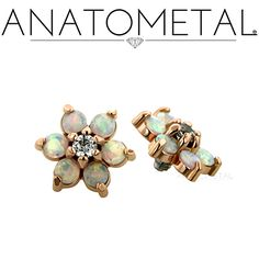 Threaded Flowers in solid 18k rose gold with CZ and synthetic Faceted Opal gems