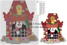 Free cross stitch pattern santa claus comes down from fireplace