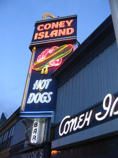Coney Island Hot Dogs at dusk #Neon