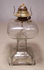Antique Vtg. Kero Oil Clear Glass Greek Design Banner Flip Top Burner Lamp #N-33