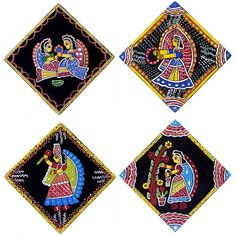 Four Square Table Coasters with Tikuli Painting on Hardboard (Tikuli Painting on Hardboard) Madhubani Art, Madhubani Painting, Diy Crafts For Gifts, Arts And Crafts, Rajasthani Painting, Coaster Art, Table Coasters, Small Canvas Art, Indian Folk Art