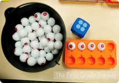 Basically, my kids are going to practice making 10.  They'll roll a die.  Place the matching number of eyes in the tray.  And then determine how many more eyes they'll need to make 10 altogether. ..Record addition stories on Making 10 recording sheet.