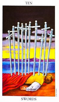 {Oct 6, 2014} This week's Tarot card is the Ten of Swords. This week, there may be a sudden ending or a betrayal of your trust. It comes as a very unwelcome surprise and you will feel hurt. While this period is difficult and painful, it shall pass.   How do you see the Ten of Swords playing out for you this week?  Learn more about the Ten of Swords at http://www.biddytarot.com/tarot-card-meanings/minor-arcana/suit-of-swords/ten-of-swords/ #weeklytarotcard
