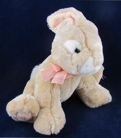 "Russ Berrie 10"" Stuffed Plush Rabbit Animal Toy Apricot Tan w Orange Ribbon   eBay"