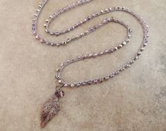 Stone Feather Beaded Crochet Necklace Long Bead Necklace or