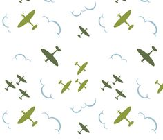 1940s inspired Spitfire aircrafts green fabric by eloise_varin on Spoonflower - custom fabric