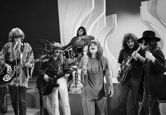LOS ANGELES - NOVEMBER 1: Jefferson Airplane on THE SMOTHERS BROTHERS COMEDY HOUR. From left: Paul Kantner, Jack Casady, Spencer Dryden, Grace Slick, Jorman Kaukonen and Marty Balin. Image dated November 1, 1968. (Photo by CBS via Getty Images)
