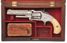Exceptional Cased Factory Engraved and Inscribed Smith & Wesson Number 1 1/2 2nd Issue Single Action Revolver with Ivory Grips