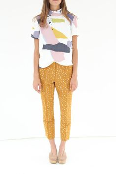 Rachel Comey top. Neo Slim Trouser Print.