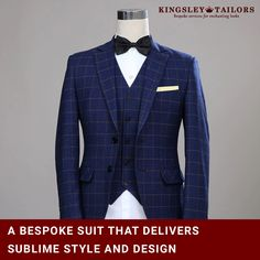 Groom Tuxedos Wool Blue Ckeck Tweed Custom Made Men suit Blazers Retro tailor made slim fit wedding suits for men 3 Piece Bespoke Suit, Bespoke Tailoring, Mens Attire, Mens Suits, Blazer Suit, Suit Jacket, Custom Made Suits, Groom Tuxedo, Suits For Sale