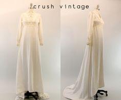 60s Velvet White Wedding Gown XS / 1960s White Boho Dress / The Velvet Wedding on Etsy, $234.97 AUD