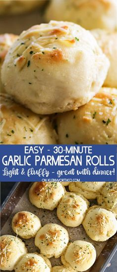 30-Minute Garlic Parmesan Dinner Rolls, the perfect bread recipe to serve with any meal. Great for holidays, so simple to make. Cheesy, garlicky goodness!
