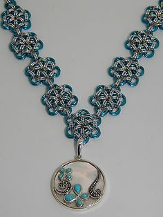 Turquoise inlaid MOP 925 Silver Pendant on hand-made Chain Maille Necklace