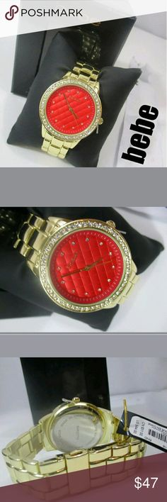 NWT BEBE QUILTED Face w/RHINESTONES CLASSy WATCH! NWT BEBE QUILTED Red Face W/ RHINESTONES inside and surrounding the face,  show stopper so pretty  , a CLASSIC WATCH enhanced by a glittering rhinestones throughout MSRP$51.00+ SCREAMS CLASSY!!! bebe Accessories Watches