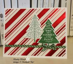 """Windy's Wonderful Creations, Stampin"""" Up!, Holiday Fancy Foil Designer Vellum, Peaceful Pines, Perfect Pines framelits dies"""