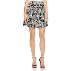 Lucy Paris Printed Flared Skirt ($31) ❤ liked on Polyvore featuring skirts, lucy paris, skater skirt, white knee length skirt, white flared skirt and flared skirt