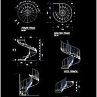 Concrete Spiral Staircase (dwg - Autocad drawing) - 2d Stairways Projects