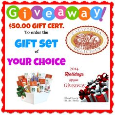 Enter To Win The Gift Set of Your Choice From California Delicious! FANTASTIC GIVEAWAY!!! Enter here www.momdoesreviews.com and check on the right hand side of her website for the giveaway! YOU KNOW THAT I DEFINITELY ENTERED!!!!!!!!! I WANT TO WIN!!!!!!!!!! Thanks, Michele :)