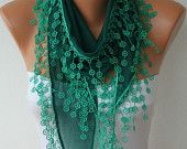 Emerald Green Scarf  - Cotton  Scarf -  Cowl with Lace Edge   -. $13.50, via Etsy.