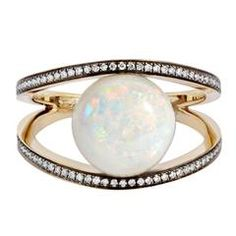 Geometry 101 Opal Diamond Gold Rhombus Ring