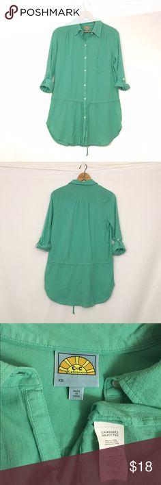 C&C CALIFORNIA cotton drawstring waist tab sleeve Top is 100% cotton with a crêpe light texture. There is an all over slight color fade typical of C&C garments. otherwise, excellent condition! Top is slightly lighter than photos suggest. Bust 40 length 30 C&C California Tops Button Down Shirts