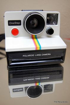 Polaroid One Step Land Camera Rainbow Stripe and Strap White Sx 70 Film, Vintage Cameras, First Step, Thrifting, Nostalgia, Rainbow, Polaroids, This Or That Questions, Nifty