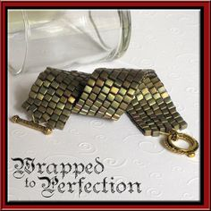 Iridescent Peyote Beaded Cube Cuff BRACELET by WrappedToPerfection, $36.00
