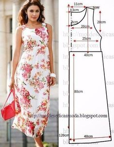 Moldes Moda por Medida: VESTIDO FÁCIL DE FAZER - 33 - Like this dress because the neck line is higher than most dresses I have seen. Diy Clothing, Sewing Clothes, Dress Sewing Patterns, Clothing Patterns, Fashion Sewing, Diy Fashion, Diy Kleidung, Diy Vetement, Creation Couture