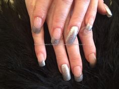 Acrylic+nails+with+silver+glitter+French+polish