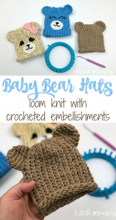 Loom Knit Hats: Baby Bears Use simple crocheted pieces to turn a basic loom knit or crocheted hat into an adorable baby bear hat.Use simple crocheted pieces to turn a basic loom knit or crocheted hat into an adorable baby bear hat. Round Loom Knitting, Loom Knitting Stitches, Knifty Knitter, Loom Knitting Projects, Yarn Projects, Baby Knitting, Sewing Projects, Knitting Tutorials, Knitting Machine