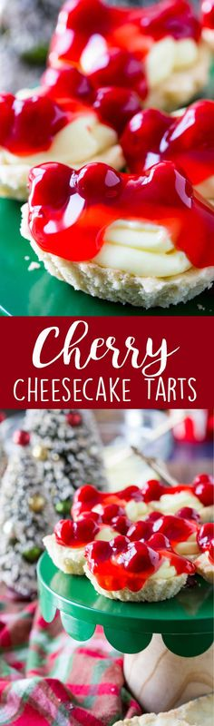 Cherry Cheesecake Butter Tarts - Easy Peasy Meals - - A butter tart shells, filled with a cheesecake pudding, and topped with cherry pie filling. These Cherry Cheesecake Tarts are a classic holiday dessert that are both impressive and easy to make. Brownie Desserts, Oreo Dessert, Holiday Desserts, Delicious Desserts, Dessert Recipes, Yummy Food, Cheesecake Pudding, Cheesecake Recipes, Desserts