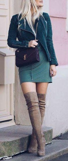 OTK boots + green hues.