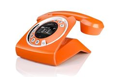Combining the retro communication method with modern design and technology, the Sagemcom Sixty cordless rotary phone is a true eye catcher. #orange #retro #modern
