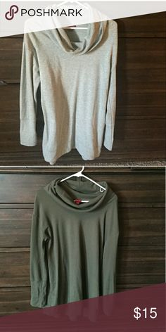 2 cowl neck sweat shirts Beautiful sweat shirts, easy to dress up or down. Great condition and super soft! Could be a tunic on someone who wears a L. They are a little longer in length, with my hips I ended up turning them under ?? Merona Tops