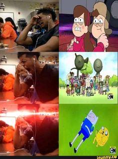 Cartoon Crossovers, Cartoon Memes, Cartoons, Memes Humor, Funny Images, Funny Pictures, Image Triste, Desenhos Cartoon Network, Funny Relationship Memes