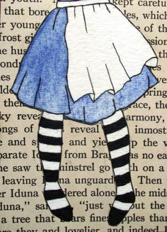 Alice falling to Wonderland - nicely done book page background theme. #ATC