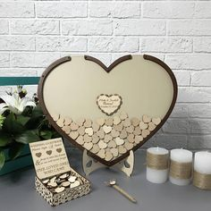Unique beautiful heart wedding guest book will serve as a marvellous decor for Your wedding. Your guests will be amazed at your creativity. They will write their wishes on small hearts and after wedding you can put it on a wall for long lasting pleasant memories. For ordering: - choose