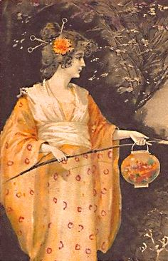 ☂ Paper Lanterns and Parasols ☂ Japonisme Art and Illustration - 1902 German Postcard Illustrations, Illustration Art, Lantern Image, Nautical Art, Chinese Lanterns, Moon Art, Paper Lanterns, Portraits, Photos
