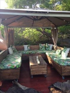 Pallet U Shaped Couch Under Gazebo More