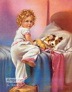 Bedtime by Mabel Rollins Harris - Art Print Animal Art Prints, Vintage Art Prints, Christmas Pictures, Dog Art, Vintage Postcards, Bedtime, Art Reproductions, Framed Art, Illustration Art