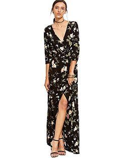 7974bdcca6 Fabric  Fabric has no stretch Season  Fall Type  Wrap Pattern Type  Floral  Sleeve Length  Half Sleeve Color  Black Dresses Length  Maxi Style  Elegant  ...