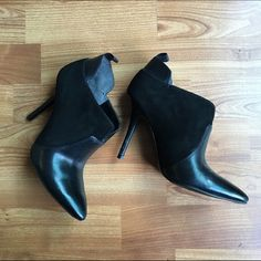 Enzo Angiolini Black Suede Leather heel boots Enzo Angiolini Black Suede Leather heel boots, size 6. I love these and really don't want to get rid of them, unfortunately I bought them a little too small. Comes with an anti- slip pad on the bottom which can be removed. In great condition other than a few scuffs as shown in photos. Enzo Angiolini Shoes Ankle Boots & Booties