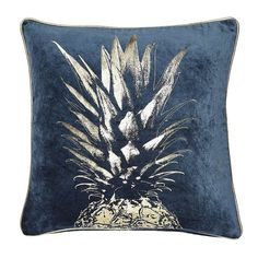 Finished with a metallic gold pineapple design with pipe edging this rich teal blue square cushion cover features a soft textured feel and a secure zip fastenin. Teal Cushion Covers, Teal Cushions, Large Cushions, Blue And Gold Living Room, Blue Living Room Decor, Living Rooms, Pineapple Vintage, Gold Pineapple, Pineapple Room Decor
