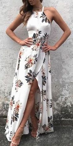 #summer #outfits / floral print slit dress