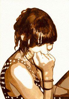 Sepia Watercolor Portrait Painting of Jules  8x10 by joypompeoart, $10.00