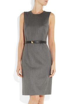 Gucci shift dress: dark-gray wool-blend, round neck, black leather belt with gold stud fastening, fully lined. Concealed zip fastening at back. 98% wool, 2% elastane; lining: 57% rayon, 43% polyester. Dry clean.