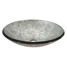 Love This : Metallic Silver Unique Shaped Glass Vessel Sink