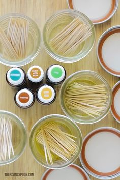 DIY Flavored Toothpicks with Essential Oils therisingspoon.com -- Learn how to easily make flavored toothpicks at home with your favorite essential oils. I include five different recipes using some of the best essential oils for curbing appetite, freshening breath, improving your mood, settling an upset stomach, and more!
