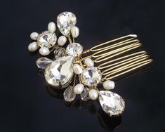 Gold Wedding Hair Comb with Crystals Freshwater Pearls, Anthea Gold Vintage Hair Accessories, Wedding Accessories, Wedding Jewelry, Latest Jewellery Trends, Jewelry Trends, Hair Comb Wedding, Cute Jewelry, Gold Wedding, Wedding Hairstyles